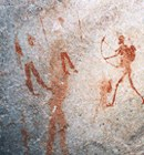 Ancient Africa bushmen painting with bow